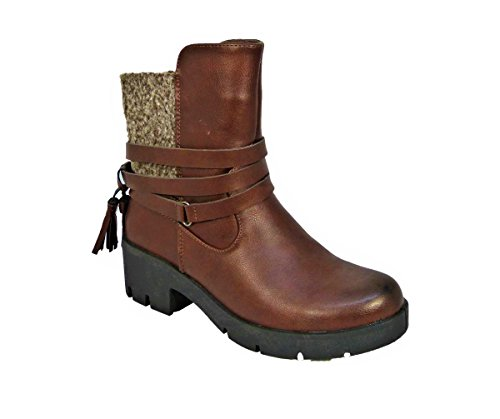 Uk Tassel Womens 3 Block cw17077 Heels Zip Up Chelsea Taglia 8 Marrone Strappy Chunky Stivaletti q5R5wnvF