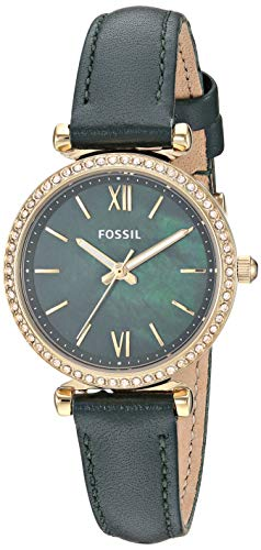Fossil Women's Carlie Mini Stainless Steel Quartz Leather Strap, Green, 12 Casual Watch (Model: ES4651) (Fossil Watch With Green Face)