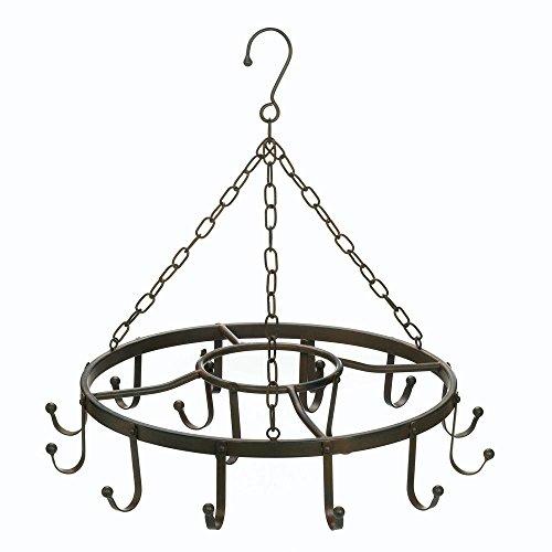 Hanging Pot Rack Ceiling, Cast Iron Pot Rack Black, Overhead Circular Pot Holder