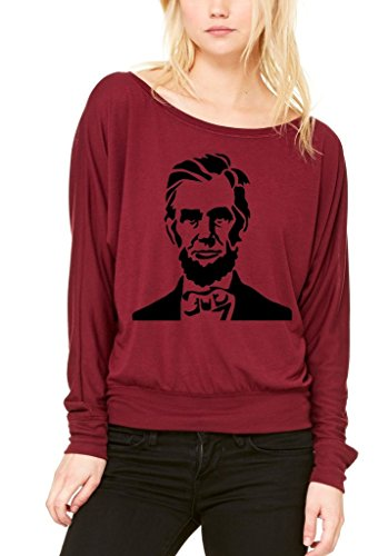 shop4ever-abraham-lincoln-off-shoulder-tee-16th-president-long-sleevesmall-maroon