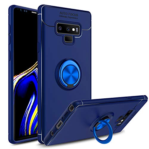 Price comparison product image Venoro Galaxy Note 9 Case, 360 Degree Rotatable Ring Stand and Ring Holder Kickstand Fit Magnetic Car Mount Slim Soft Protective Case Cover for Samsung Galaxy Note 9 / SM-N960U (Blue)