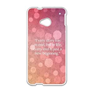 HTC One M7 Cell Phone Case White quotes every story is new beginning IB7877444