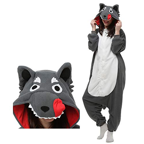 Wolf Onesie Adult Animal Pajamas, Unisex Cosplay Costume