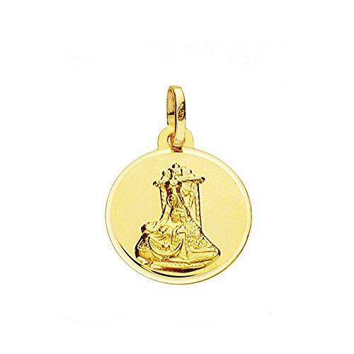 Médaille pendentif or 18k Douleurs Vierge 16mm. lunette lisse [AA2567GR] - personnalisable - ENREGISTREMENT inclus dans le prix