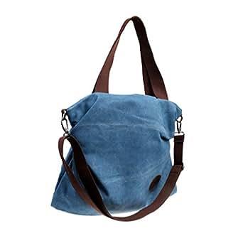 Baosity Multi Pockets Women Canvas Weekend Shoulder Bag Duffle Travel Tote Handbag - Blue