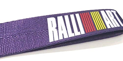 RALLIART Mitsubishi (Print) Logo Emblem Premium Nylon Webbing Purple Strap Keychain Key Chain with Lobster Clasp Closure Steel Spring Clip Lanyard Accessories
