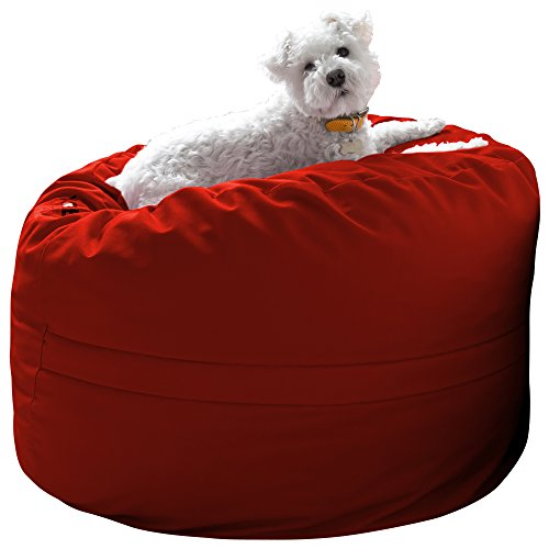 Xorbee 3-Foot Foam-Filled Bean Bag Chair in Twill, Fire Engine Red Bean Bag Red Twill