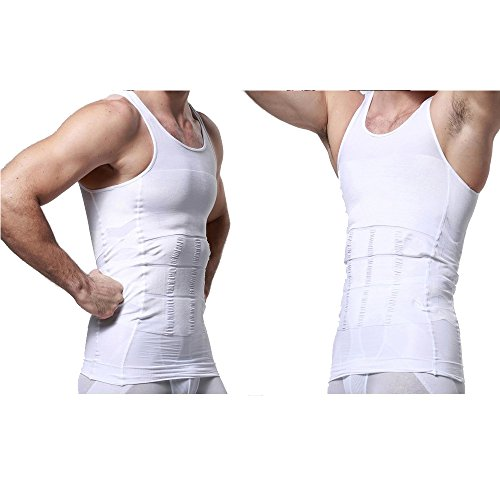 AGPtek® Mens Slimming Body Shaper Vest Shirt Waist Abdomen Slim Vest, White - L