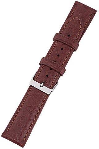ZIJIA 22 mm Echtleder-Uhrenarmband, pflanzlich gegerbtes Leder, Steinmuster, Ersatzarmband, Kaffeebraun
