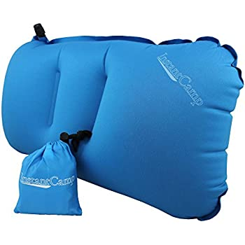Ultralight Inflatable Backpacking / Camping Pillows - Compressible, Comfortable, Compact for Traveling, Lumbar Back Support, Hiking, Airplanes - Restful Sleep for Camp - Instant Camp Air Cloud (Blue)