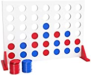 Bundaloo Jumbo Wood 4 in a Row Game - 2 Player Large Table Game for Family Parties - Camping, Indoor and Outdo