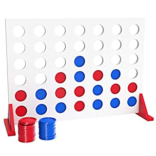 Bundaloo Jumbo Wood 4 in a Row Game - 2 Player Large Table Game for Family Parties - Camping, Indoor and Outdoor Fun for Kids and Adults