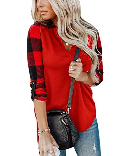 Aiopr Womens Plaid Shirts Long Sleeve V Neck Color Block Casual Tunic Tops