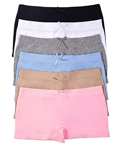 - ToBeInStyle Girls' Pack of 6 Solid Color Ribbon Seamless Boyshorts (S/M (Ages 4-11), Pastel)