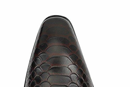 effetto coccodrillo smart rosso Da Monaco in blu vera Scarpe su Coffee Mocassino uomo pelle wTnHIWXqA