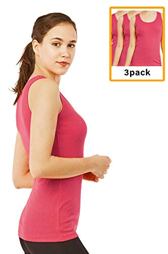 - Women's Cotton Ribbed Tank Top (3 Pack) (M, Fuchsia)