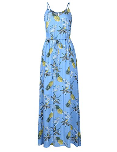 (Leadingstar Women's Strap Floral Casual Beach Holiday Dress (Blue Ananas, XL))