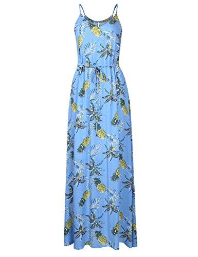 Leadingstar Women's Summer Strap Floral Beach Maxi Sun Dress (Blue Ananas, M) (Best Casual Wear Brands)