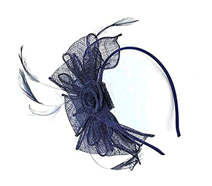 c4bd6586551 Image Unavailable. Image not available for. Colour  Navy Headband Aliceband  Hat Fascinator Wedding Ladies Day Race Royal Ascot