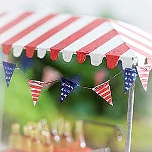 Dollhouse Mini American Flag Pennant Banner Miniature Magic Scene Supplies Your Fairy Garden - Outdoor House Decor