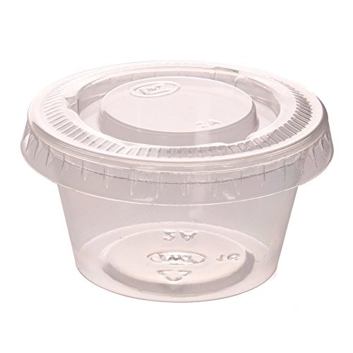Zicome 2-Ounce Plastic Disposable Portion Cups Souffle Cups with Lids for Shots, Salad Dressings, Sauces, 100 Counts (Dip Relish)