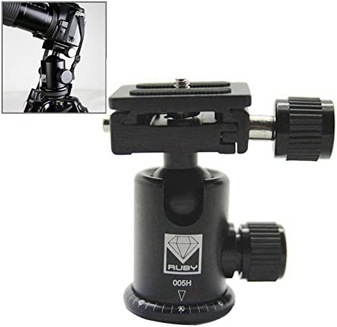 LAILINSHENG Camera monopods Ruby 005H Aluminium Magnesium Alloy Tripod Ball Head with Quick Release Plate Adapter Black