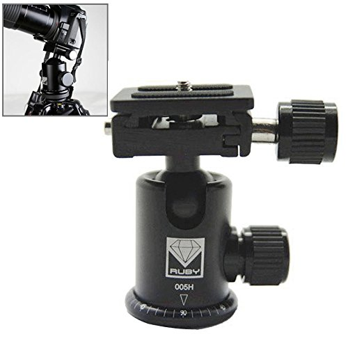 HEGUANGWEI Camera Mount Ruby 005H Aluminium Magnesium Alloy Tripod Ball Head with Quick Release Plate Adapter(Black) Photography by HEGUANGWEI