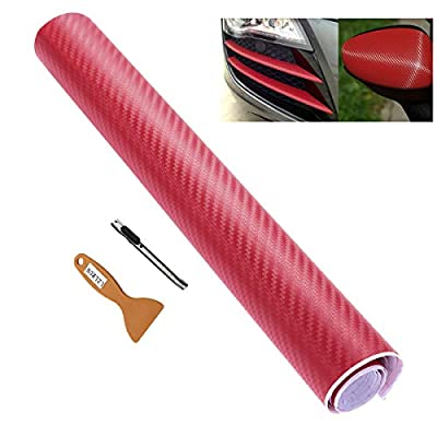 LZLRUN 3D Carbon Fiber Vinyl Wrap - Outdoor Rated for Automotive Use - 12 inches x 60 inches (Free Knife + Hand Tool)(Red): Automotive
