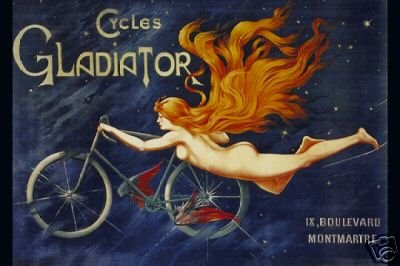 Bicycle Vintage Poster Cycles Gladiator French Ad Rare
