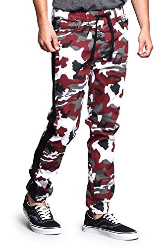 Victorious G-Style USA Men's Camo Jogger Accent Side Stripe - JG3009 - Maroon - Medium - J15H by Victorious