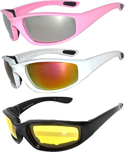 Set of 3 Pairs White Black Pink Motorcycle Padded Foam Glasses Silver Yellow Red Lens Owl