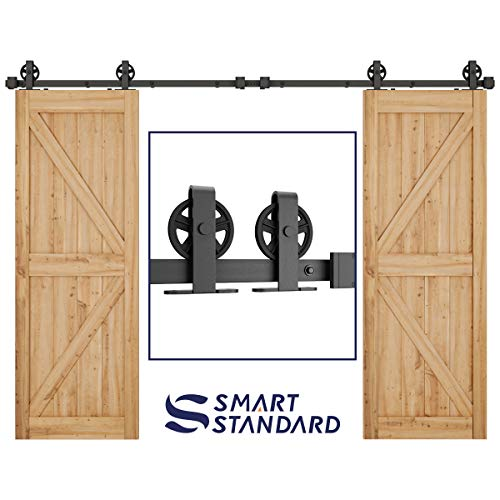 SMARTSTANDARD 10ft Heavy Duty Double Door Sliding Barn Door Hardware Kit -Smoothly and Quietly-Easy to install-Includes Step-By-Step Installation Instruction Fit 30