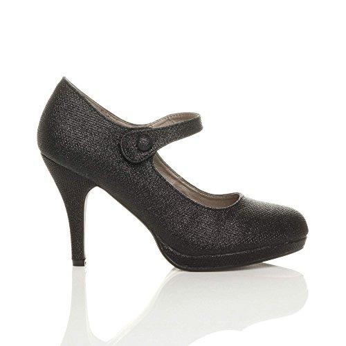 Talon Escarpins Noir Travail Soir Femmes Pointure Tulle Haut Ajvani Mary Chaussures Babies Jane 5740xnO