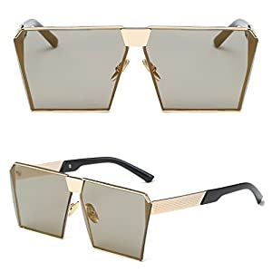 Niceskin Retro Oversized Mirrored Sunglasses Shades for Women, Resin and Metal (Gold&Earthly Gold)