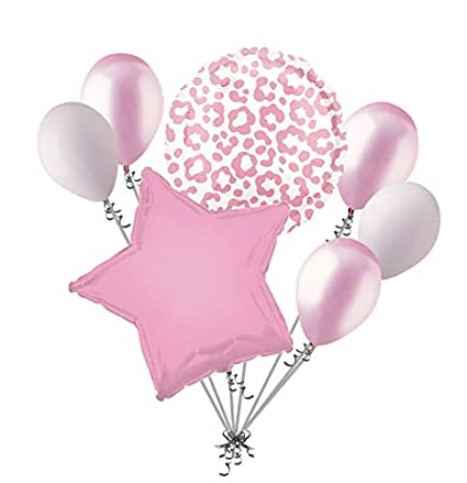 .com: 7pc pink cheetah print balloon bouquet happy birthday ...