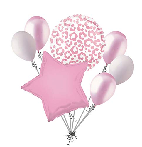 (7pc Pink Cheetah Print Balloon Bouquet Happy Birthday Baby Shower Animal)