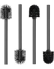 Sotfamily Set van 4 zwarte toiletborstels met zwarte toiletborstel, lange siliconen en kunststof wc-borstel, zwart, duurzame wc-borstel, 9,5 x 37,5 x 9,5 cm