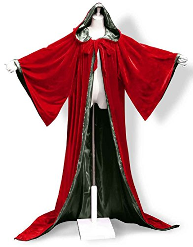ANGELWARDROBE Halloween Robe Wizard Cloak Wicca LARP LOTR Red-D-Green (Fancy Dress Costumes Starting With D)