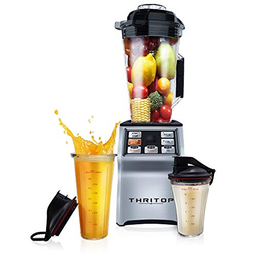 THRITOP Countertop Blender, Professional Commercial Blender with 1000-Watt Base, 50oz Total Crushing Pitcher and 2 Portable Bottles for Frozen Drinks and Smoothies
