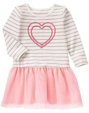 Toddler Girls Stripe Heart Tulle Dress