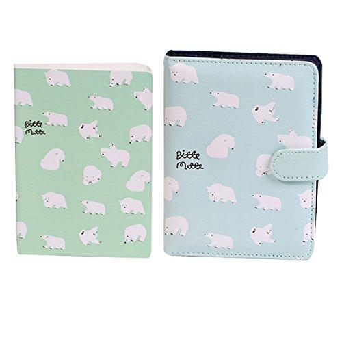 Cute Polar Bear Pattern Printing Notebook Magnetic Snap Journal Diary Book(Green) - Bear Printing