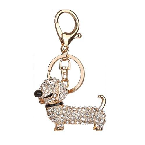 Fabal Crystal Dog Dachshund Keychain Purse Pendant Car Holder Key Ring Nice (Silver)
