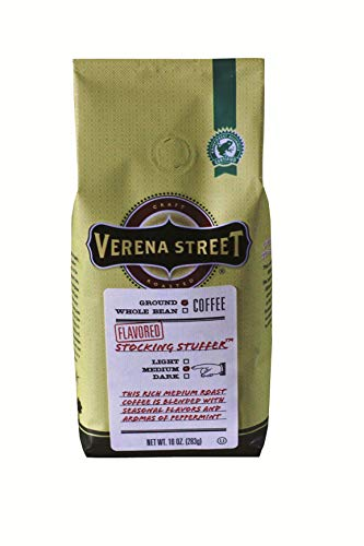 (Verena Street 10 Ounce Flavored Ground Coffee, Stocking Stuffer peppermint, Seasonal Holiday Coffee, Rainforest Alliance Certified Arabica Coffee)