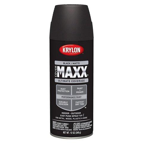 Krylon 9198 COVERMAXX Spray Paint, Matte Black, 12 Ounce (3 Pack)