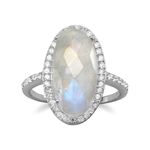 Oval Rainbow Moonstone Ring - Oval Rainbow Moonstone Ring with Cubic Zirconia Halo Sterling Silver, 10