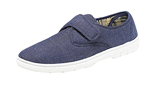 MENS CANVAS COMFORT PADDED VELCRO SHOES SIZE 6 - 12 NAVY BLUE (8) cVWugLHGXd