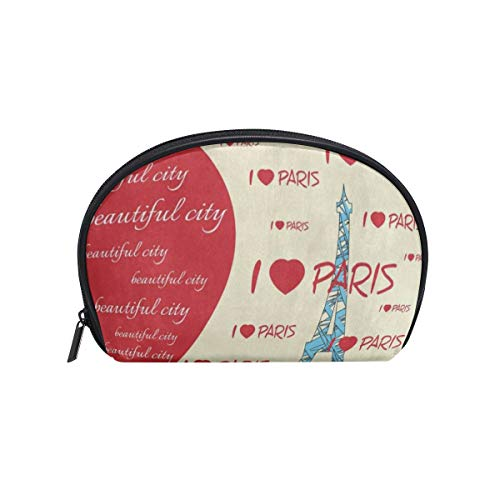 - Toiletry Bag Fashion Red Heart Eiffel Tower Womens Beauty Makeup Case Brush Cosmetic Organizer