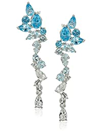 Rhodium Plated Sterling Silver Swiss Blue Topaz, Sky Blue Topaz and White Topaz Drop Stud Earrings