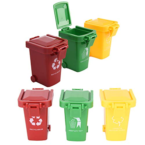 Buytra 6 Pack Kids Garbage Cans for Garbage Truck Toys, Plastic Mini Trash Can Toy Garbage Truck's Trash Cans Bin for Boys ()