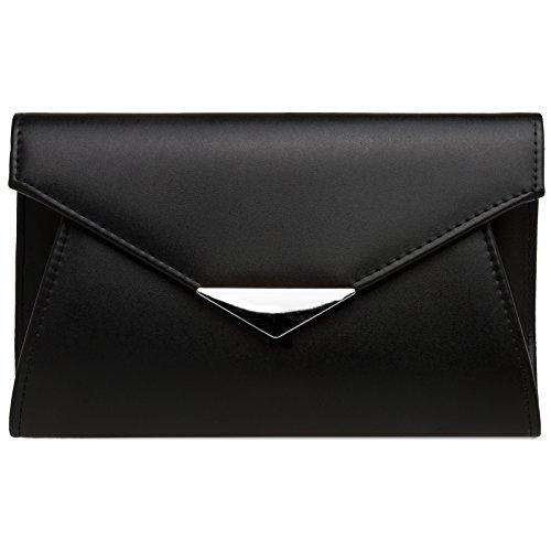 longue main pour de clutch chaînette CASPAR femme Pochette avec à élégant enveloppe soirée Noir Sac TA363 qwwpBOt